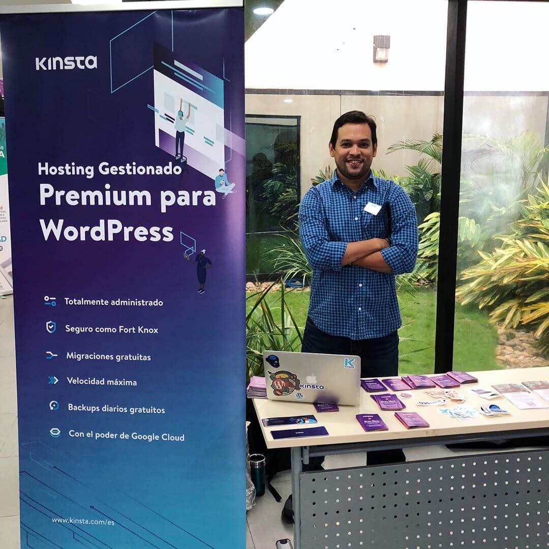 The Kinsta booth at WordCamp Managua