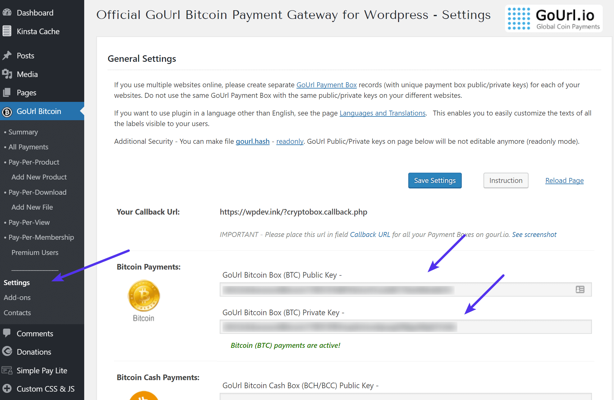 GoURL Bitcoin-Keys