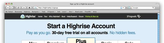 Highrise A/B Test Überschrift 1