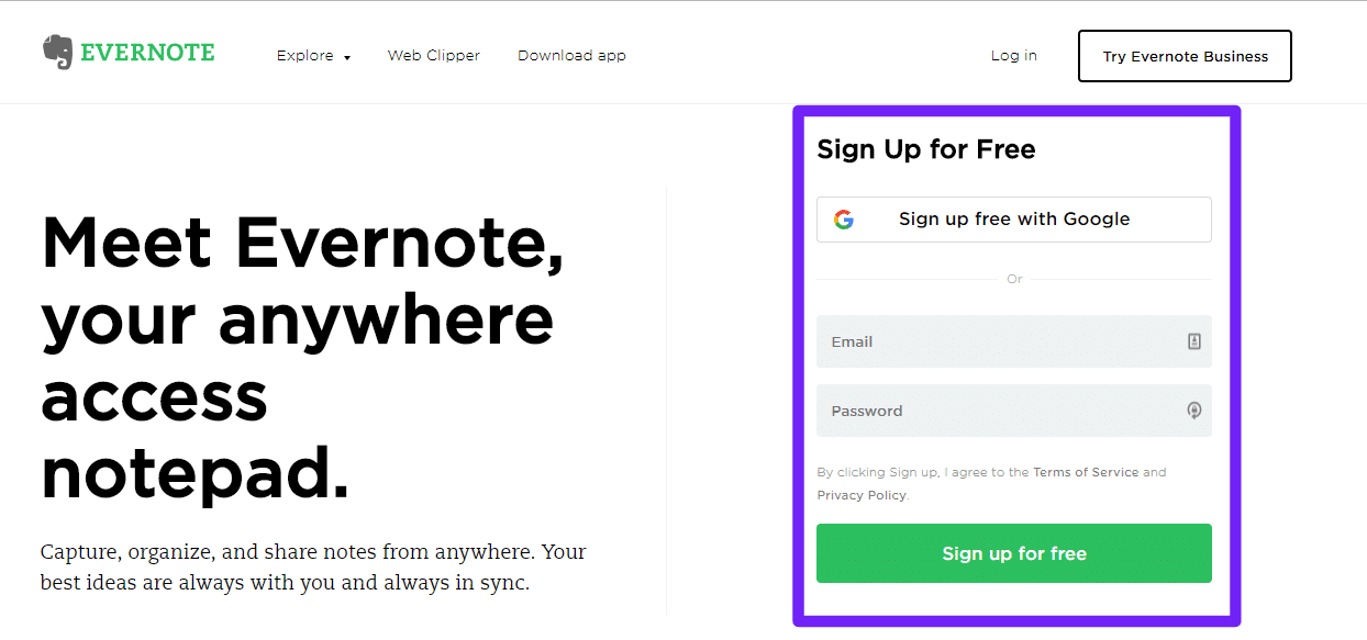 Anmelden bei Evernote