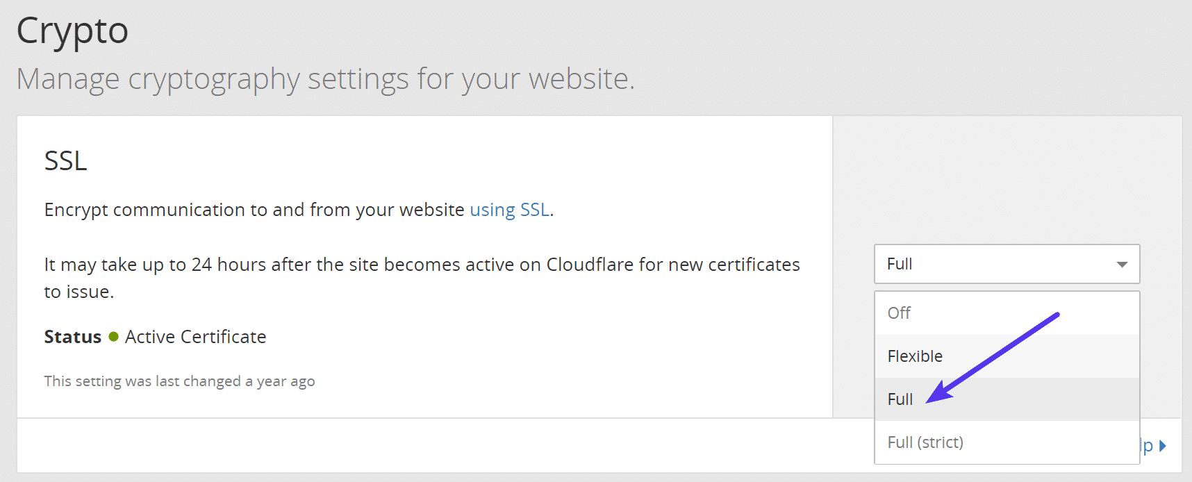 "Cloudflare Krypto level auf ""Full"" umstellen"