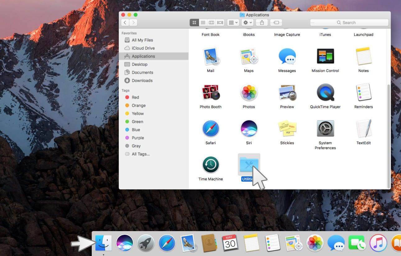 Utilities (Dienstprogramme) auf dem MAC öffnen