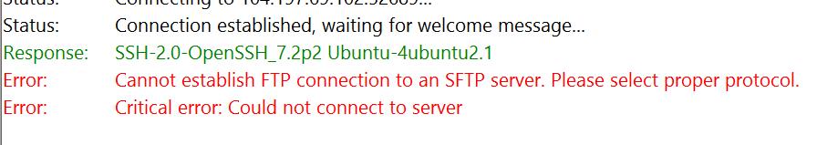 Verwende SFTP nicht FTP
