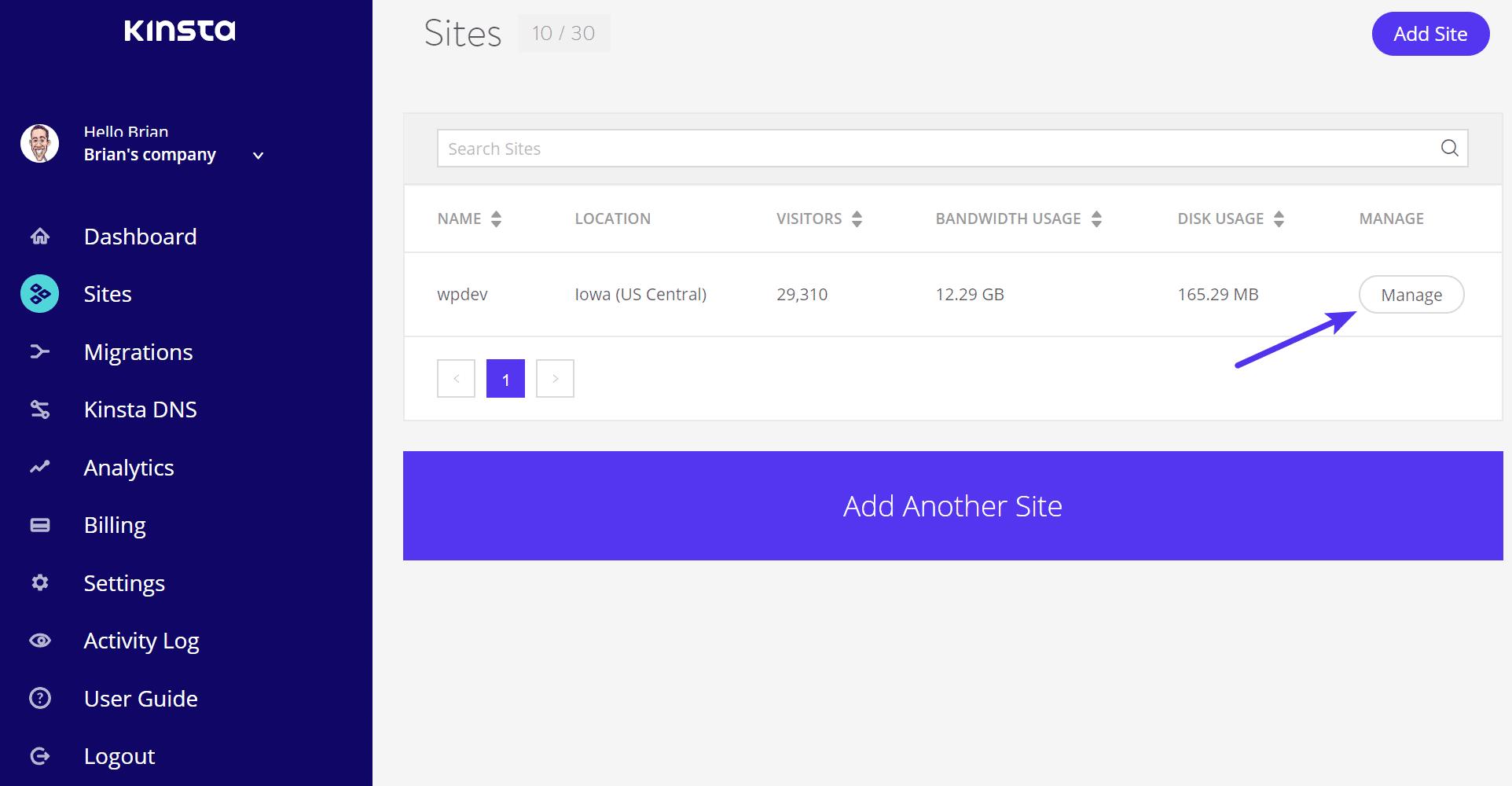 WordPress Seite managen