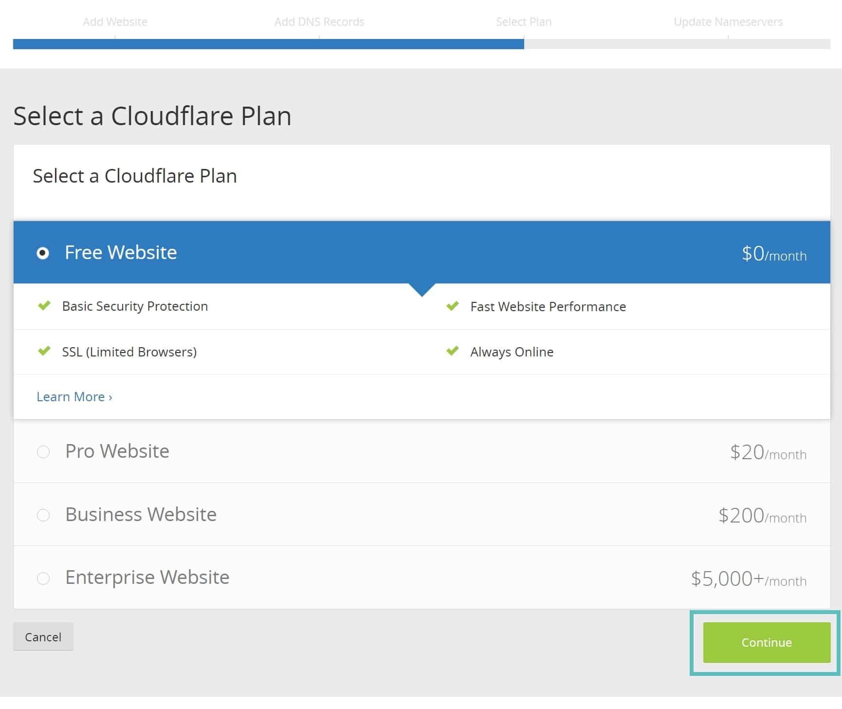 Kostenloser Cloudflare-Plan
