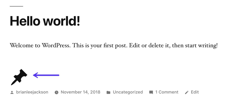 Beispiel von Dashicon in WordPress 5.0