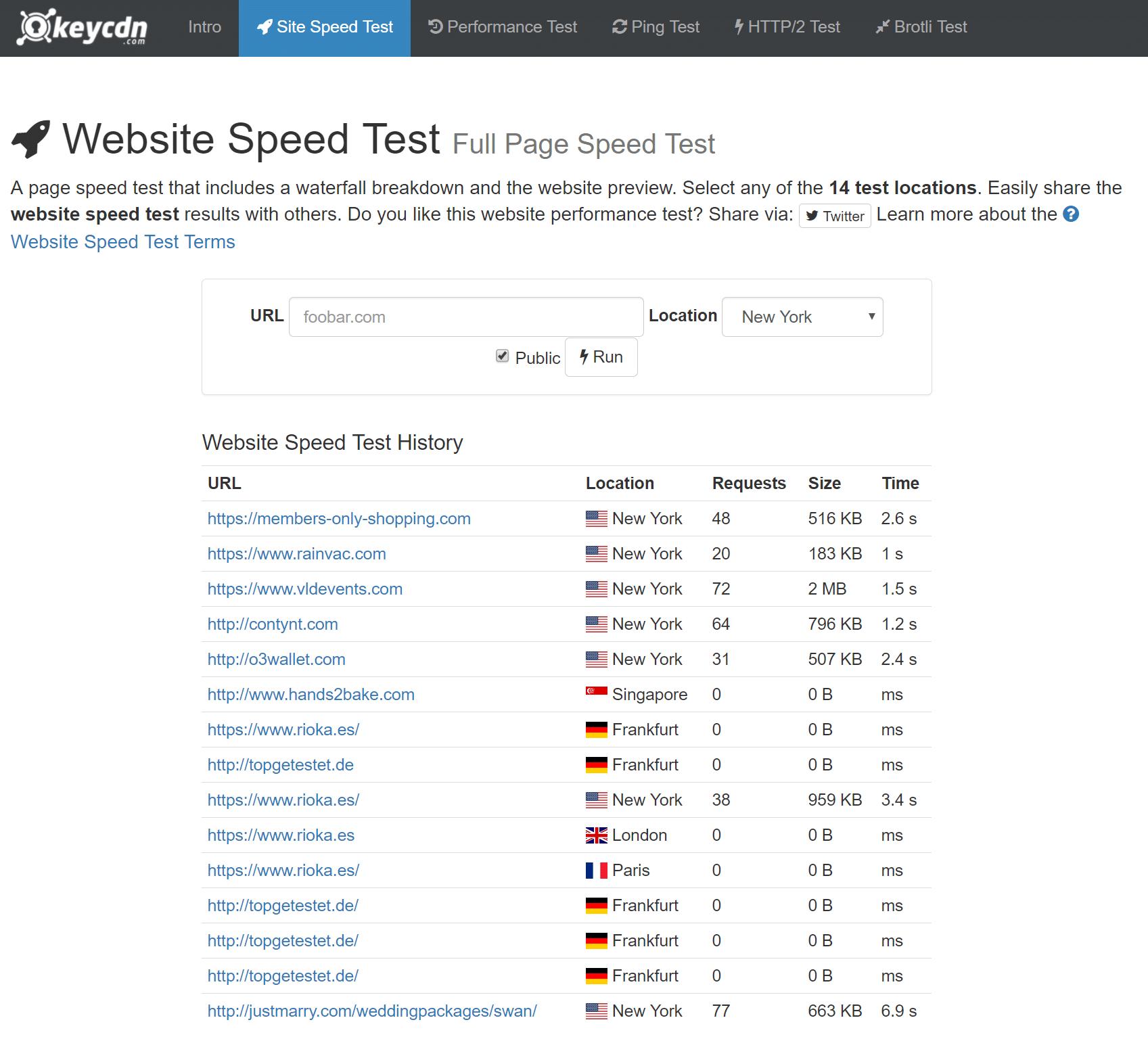 KeyCDN Webseiten Speedtest-Tool