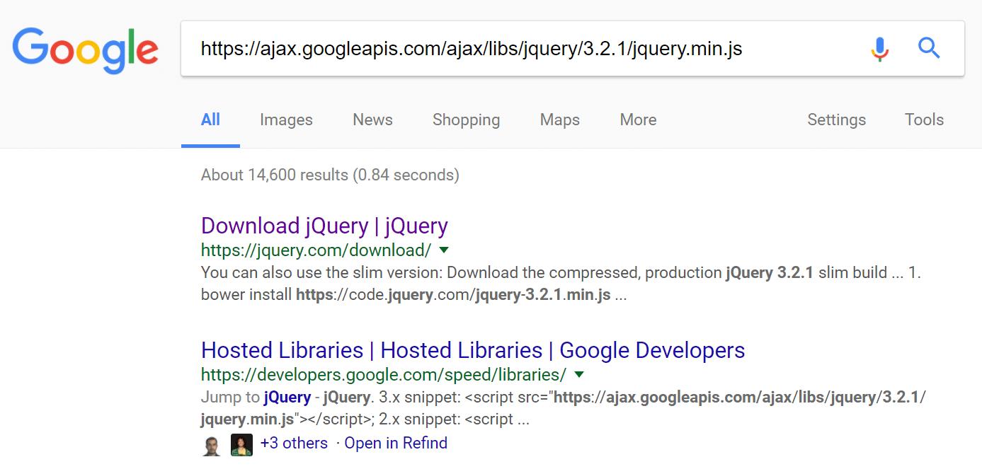 jQuery external script