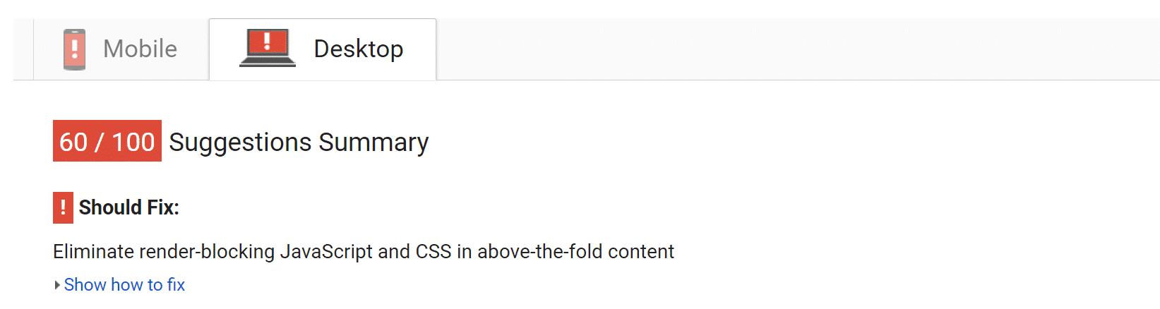 Eliminieren von Render-Blocking von JavaScript und CSS in above-the-fold Inhalten.