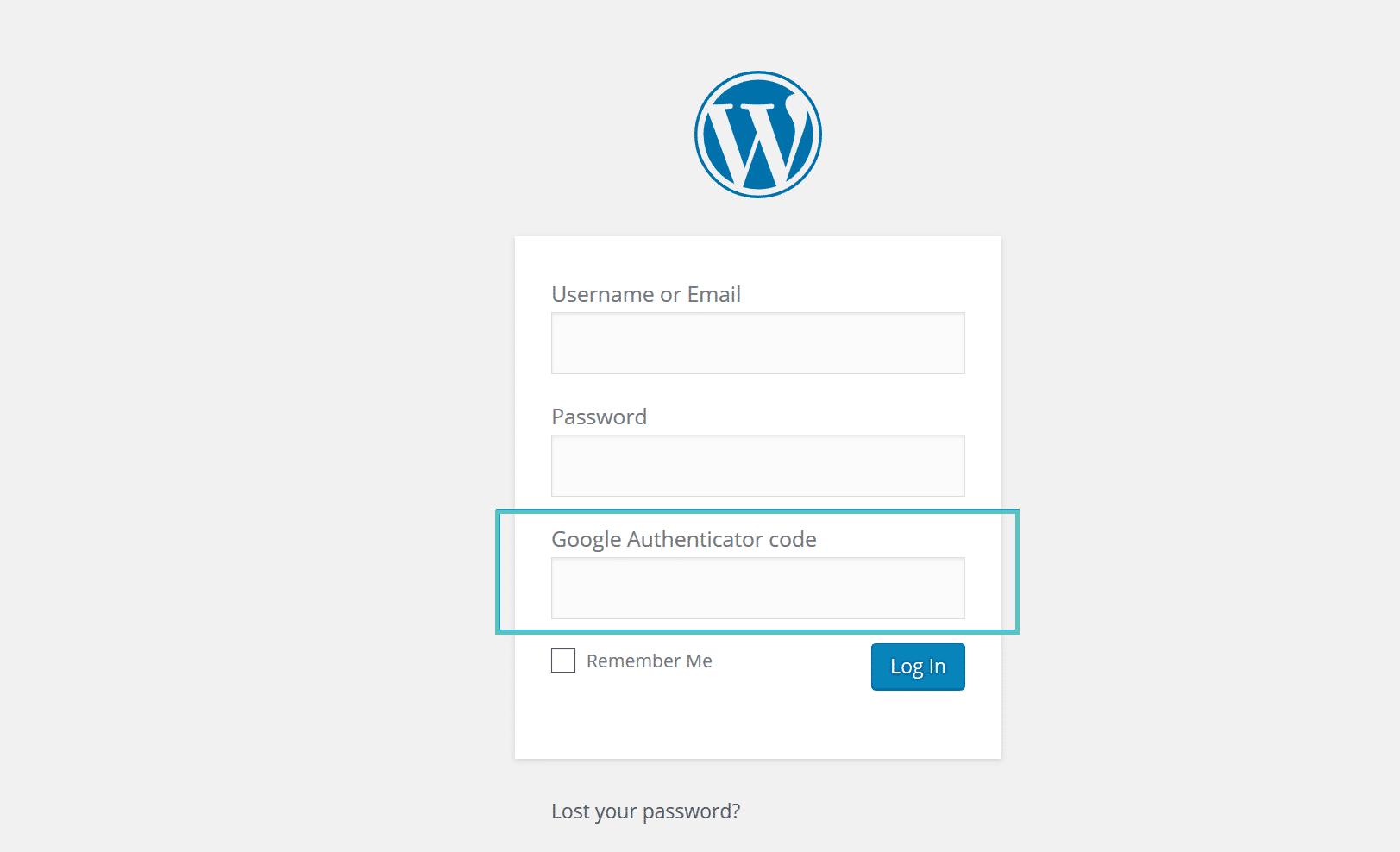 Anmeldung für Google Authenticator WordPress