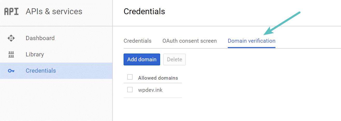 Überprüfe die Domäne in der Google Developer Console