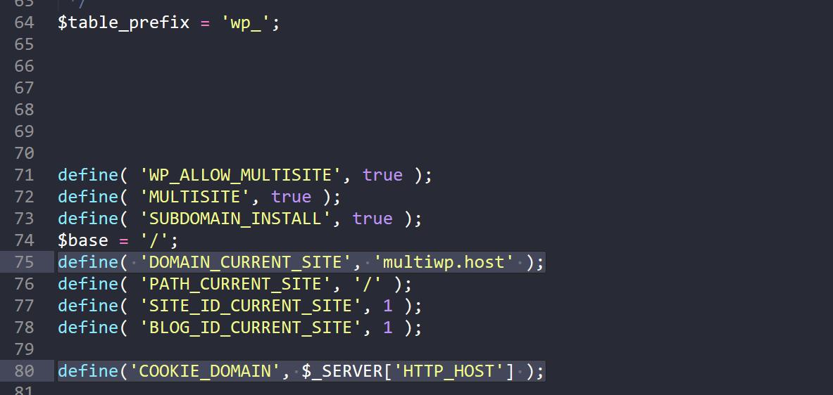 Multisite Variablen in der wp-config.php