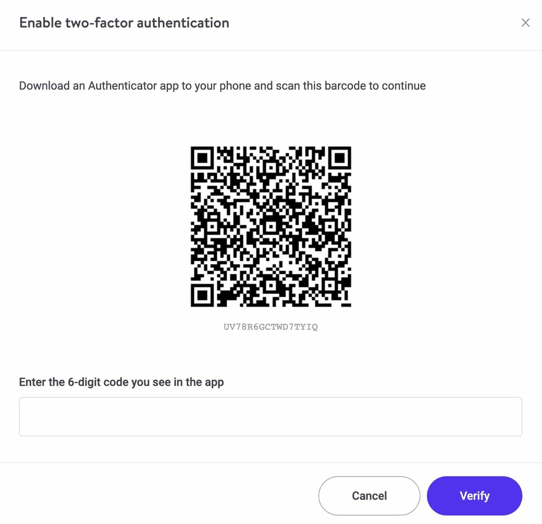 Einrichten der Zwei-Faktor-Authentifizierung in MyKinsta.