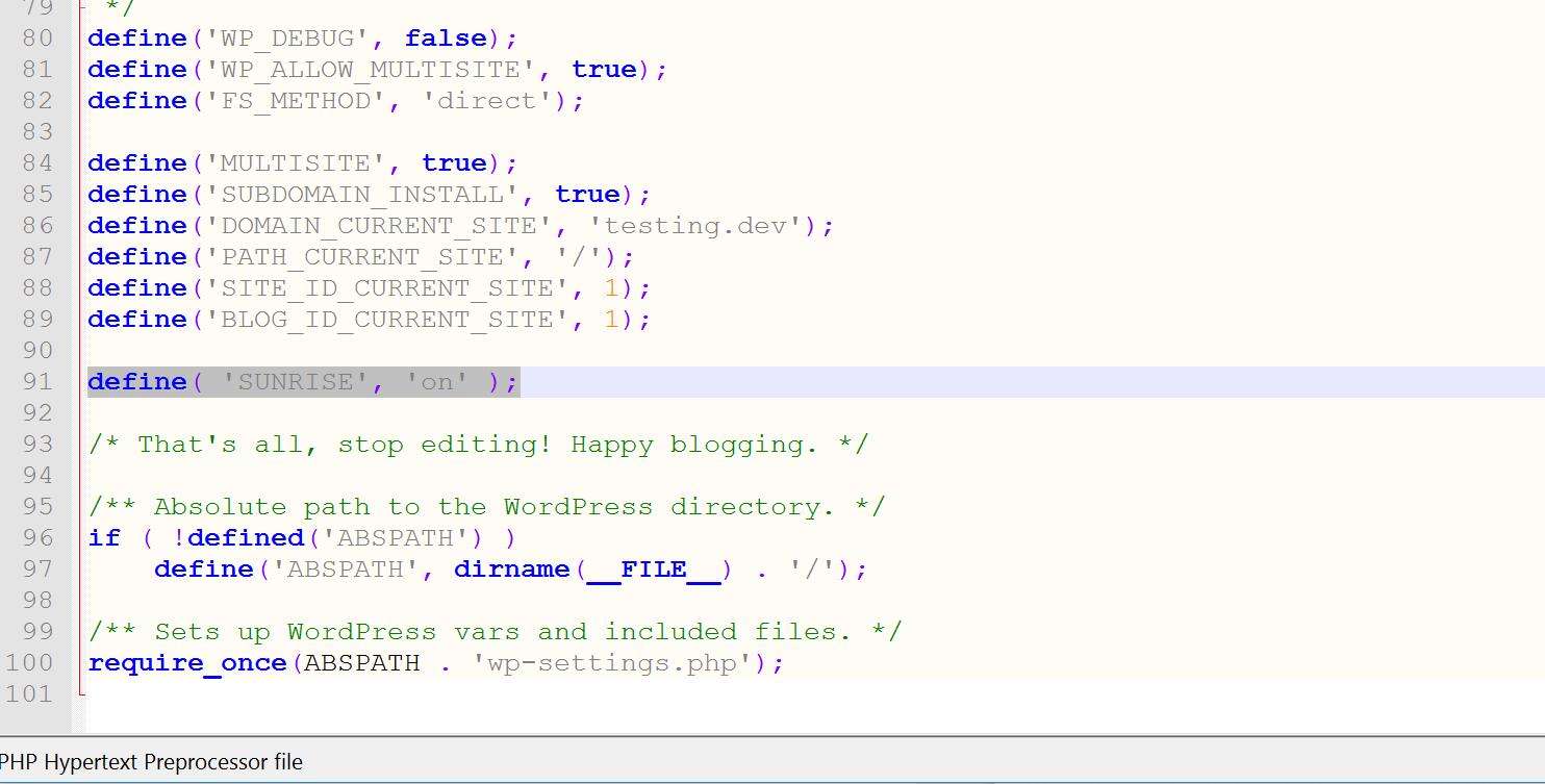 Konfiguriere sunrise in der Datei wp-config.php