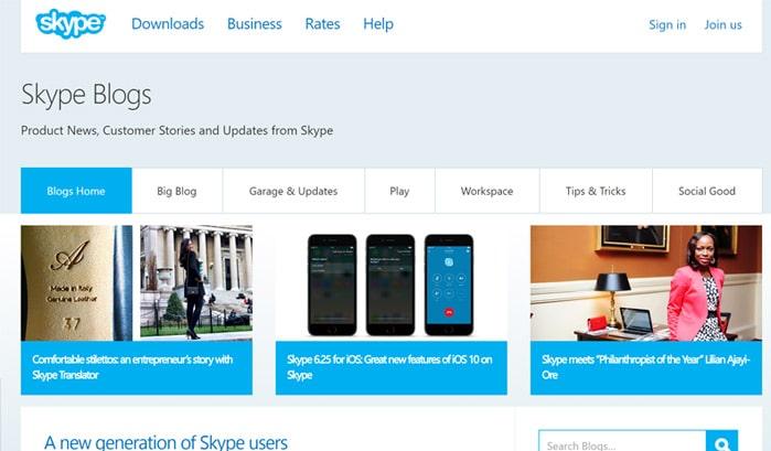 skype blog wordpress seiten