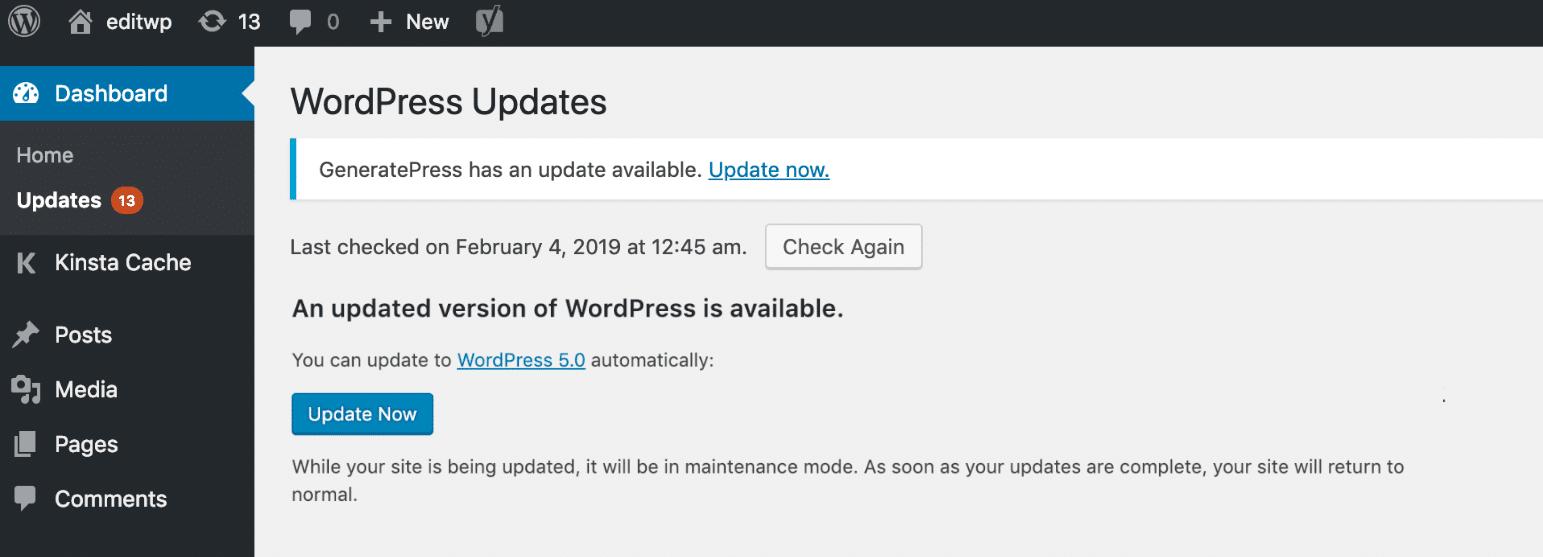 Wordpress auf dem neuesten Stand halten