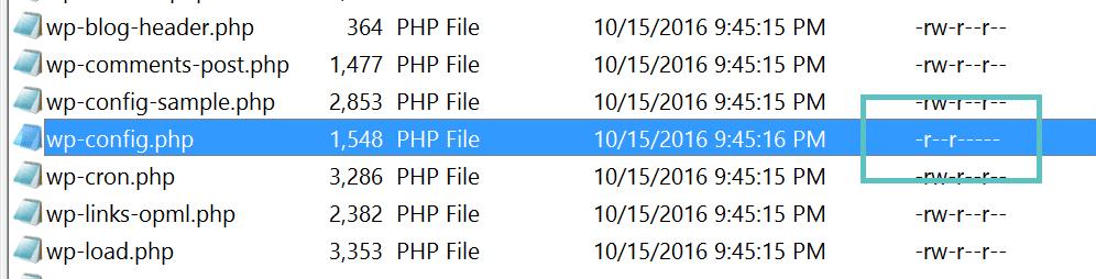 wp-config.php-Berechtigungen