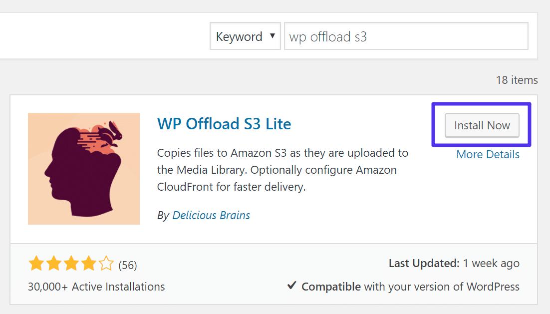 Installiere WP Offload S3 Lite