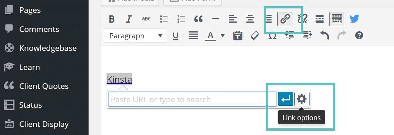 link wordpress