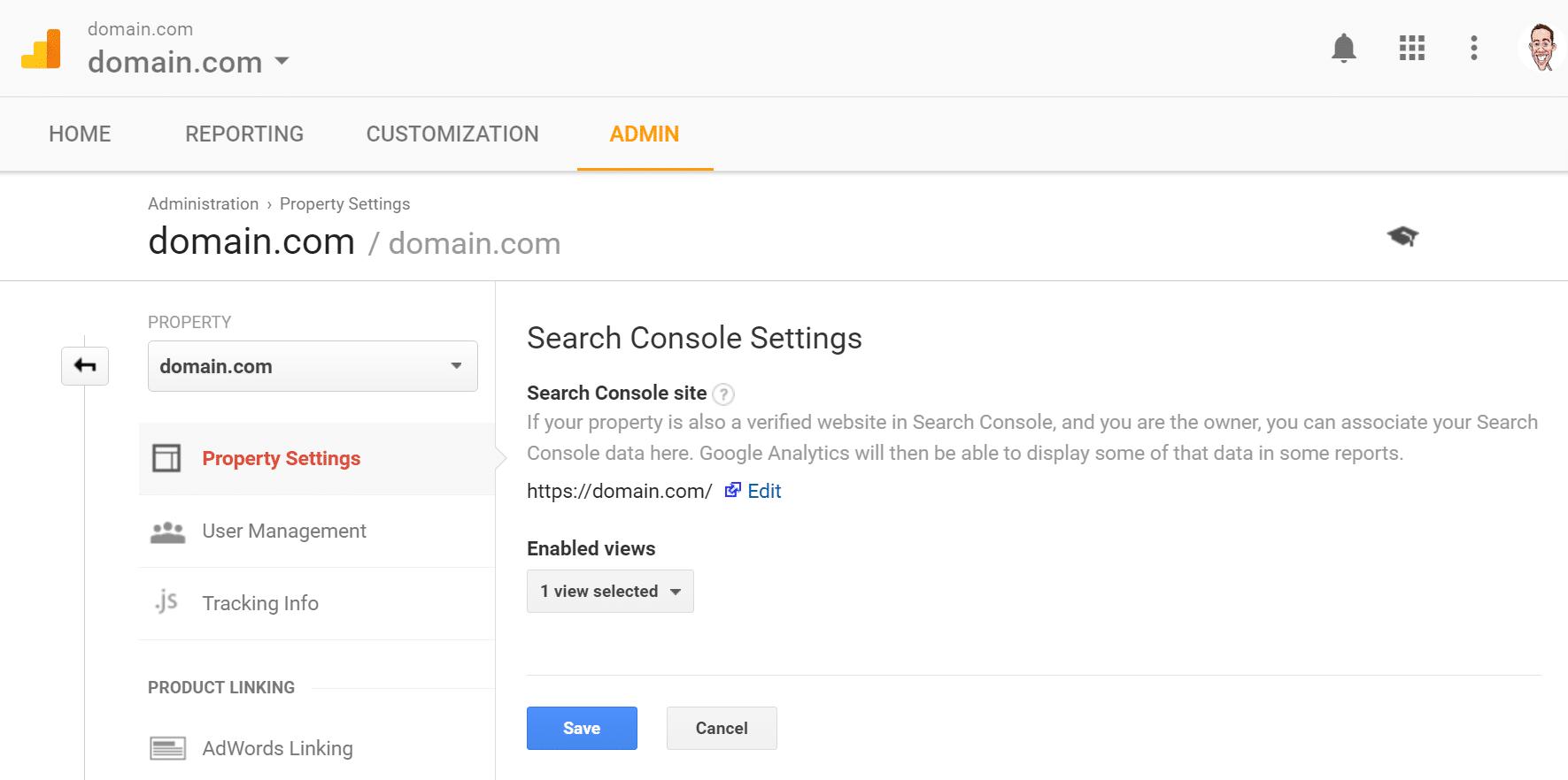 Verknüpfung des Google Analytics-Kontos mit dem Google Search Console-Konto