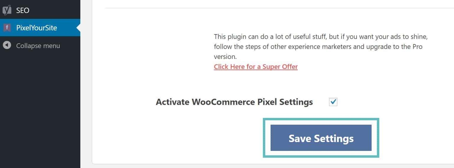 Aktivieren des WooCommerce Pixels
