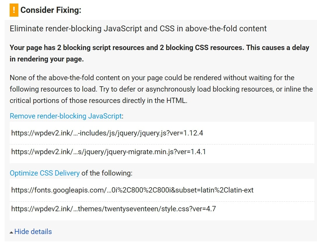 Eliminate render-blocking JavaScript and CSS Warnung