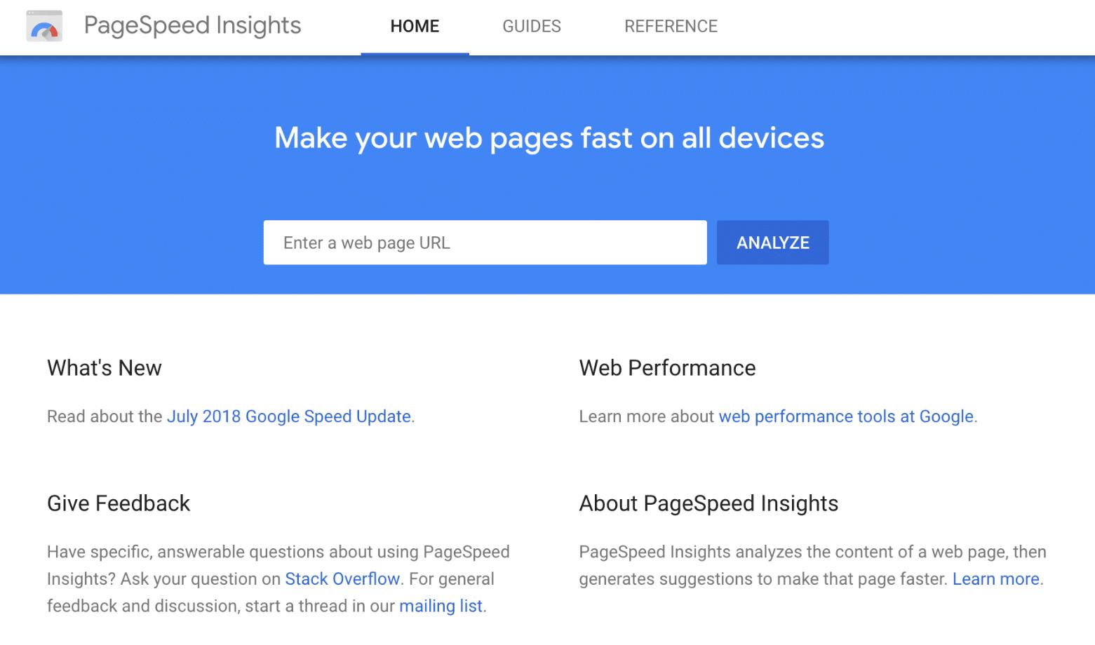 Google PageSpeed Insights tool