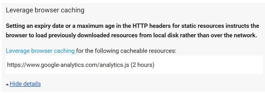 Leverage Browser Caching mit Google Analytics