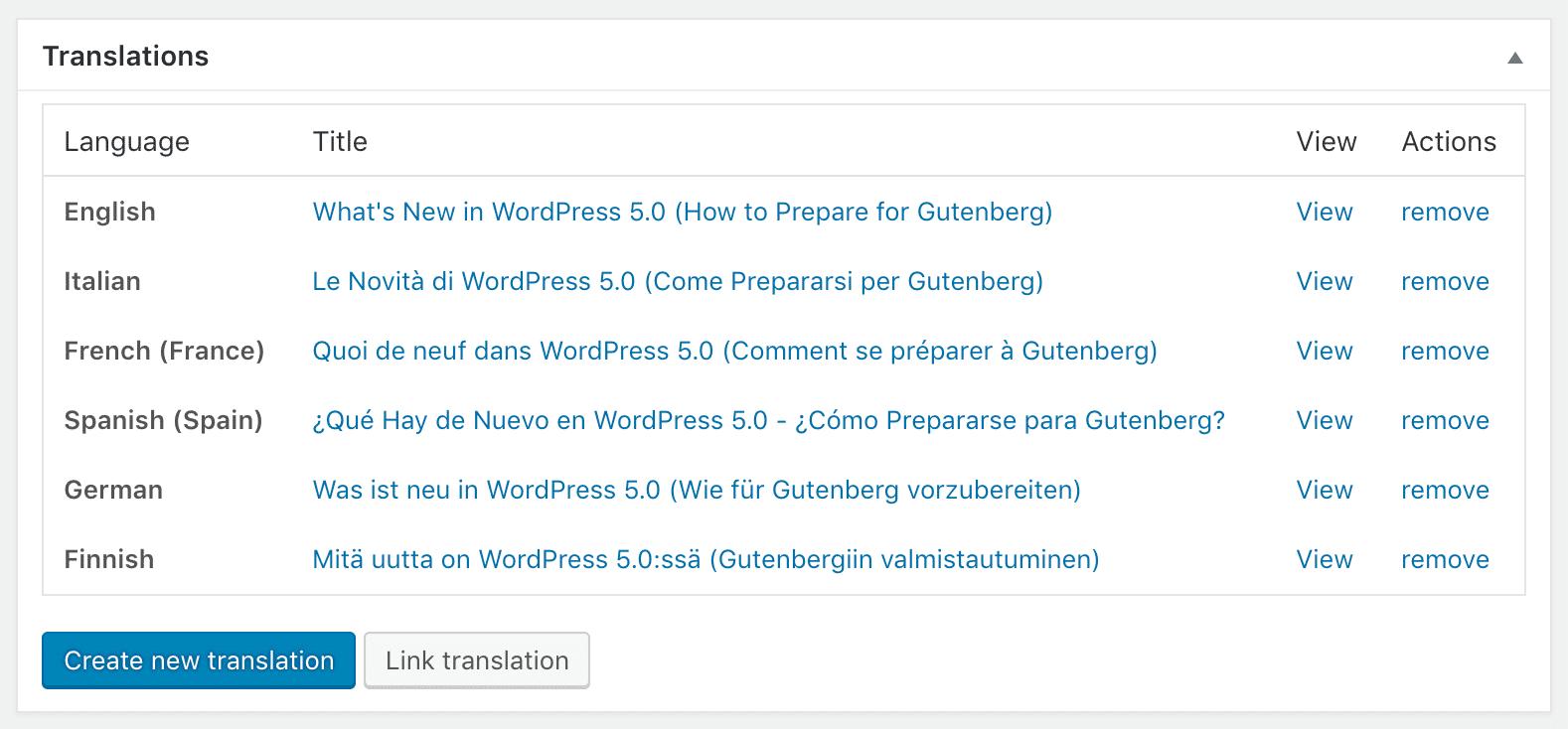 Übersetzungen verknüpfen in WordPress