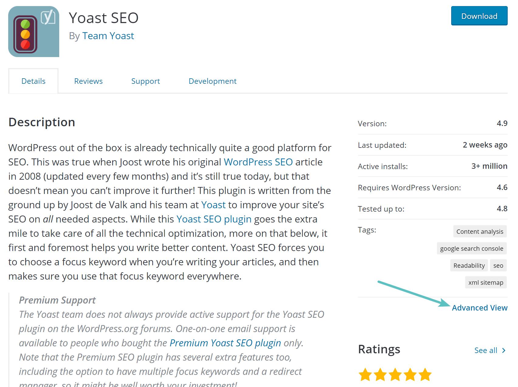 Erweiterte Ansicht des WordPress-Plugin
