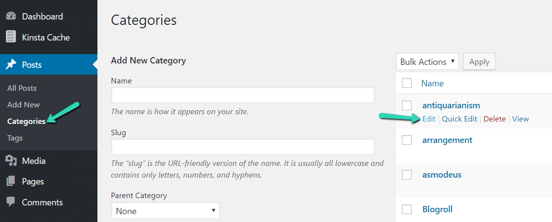 Kategorien bearbeiten