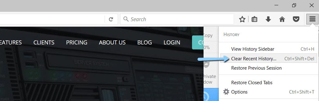Mozilla Firefox löscht den letzten Verlauf