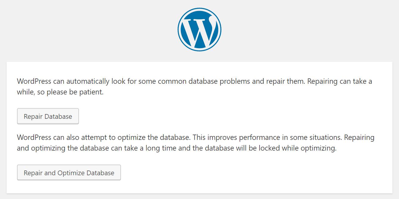 Wordpress Reparatur Datenbank