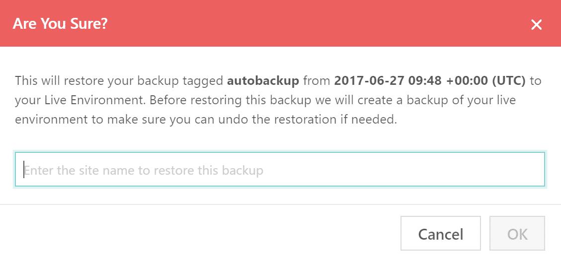 WordPress Wiederherstellung bestätigen