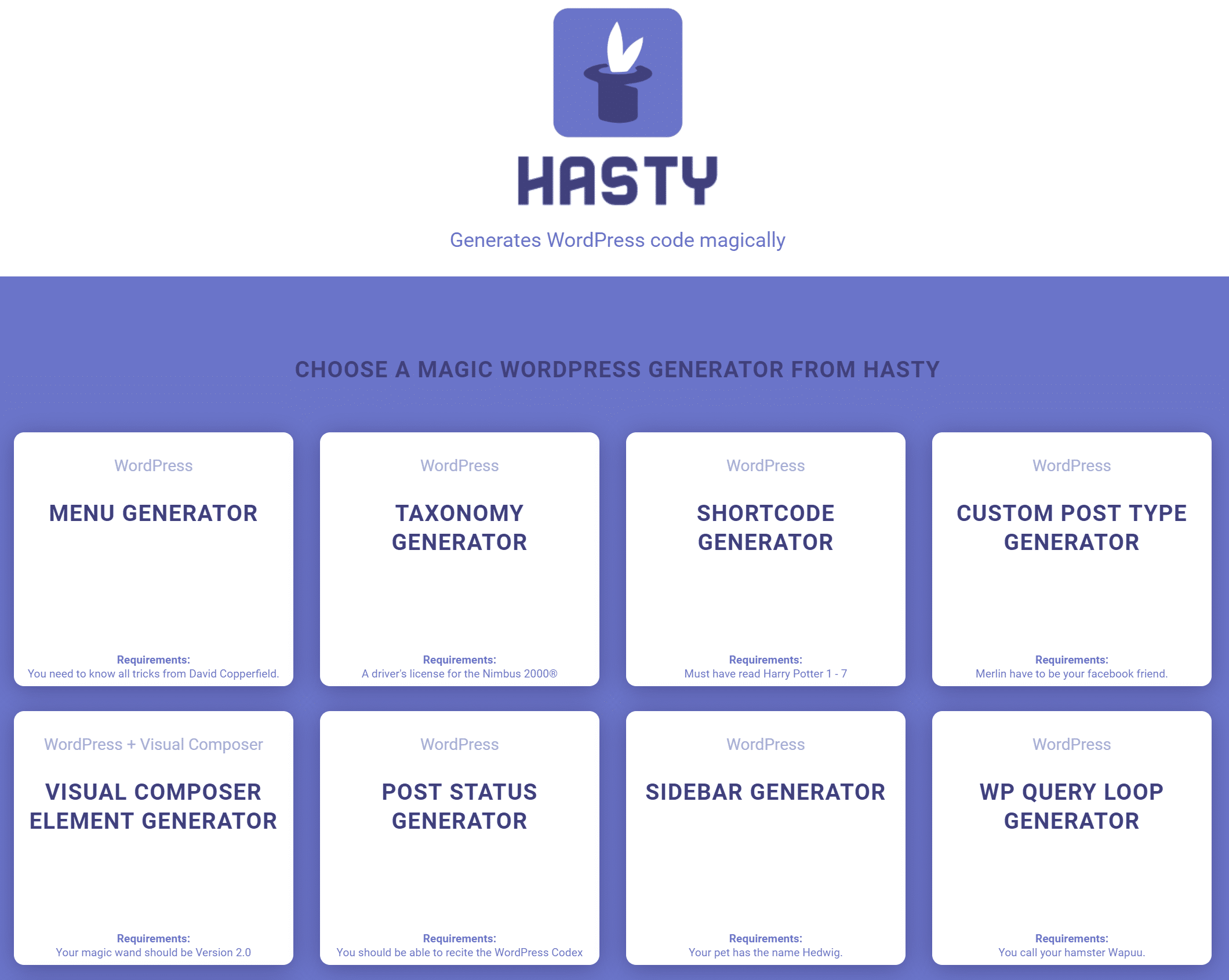 Hasty WordPress Code-Generator