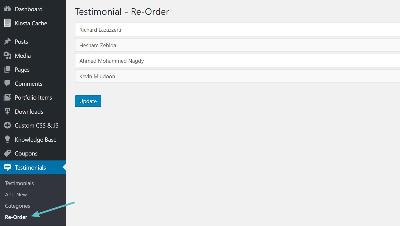 Neuordnung benutzerdefinierter Posttypen per Drag & Drop