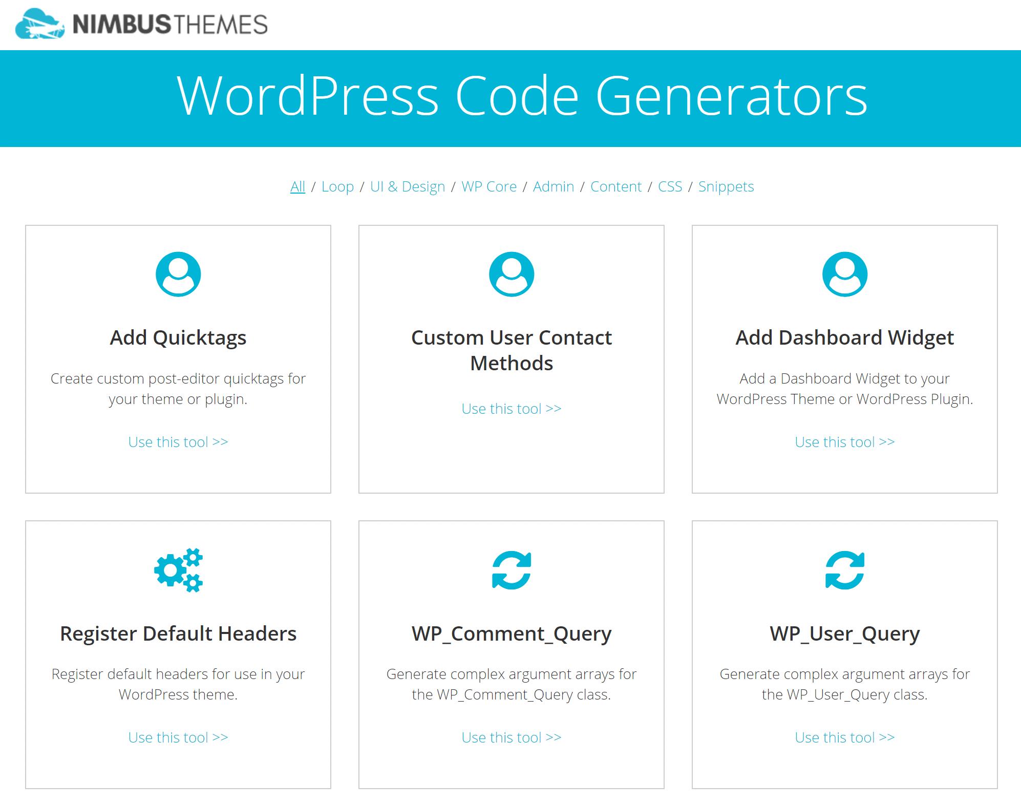 Nimbus Themes WordPress Code-Generatoren