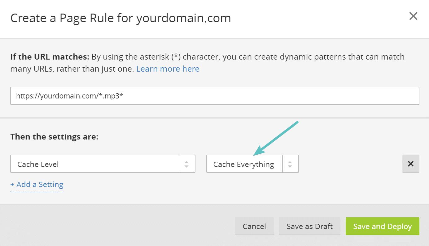 Cloudflare-Seitenregel zum Zwischenspeichern von .mp3