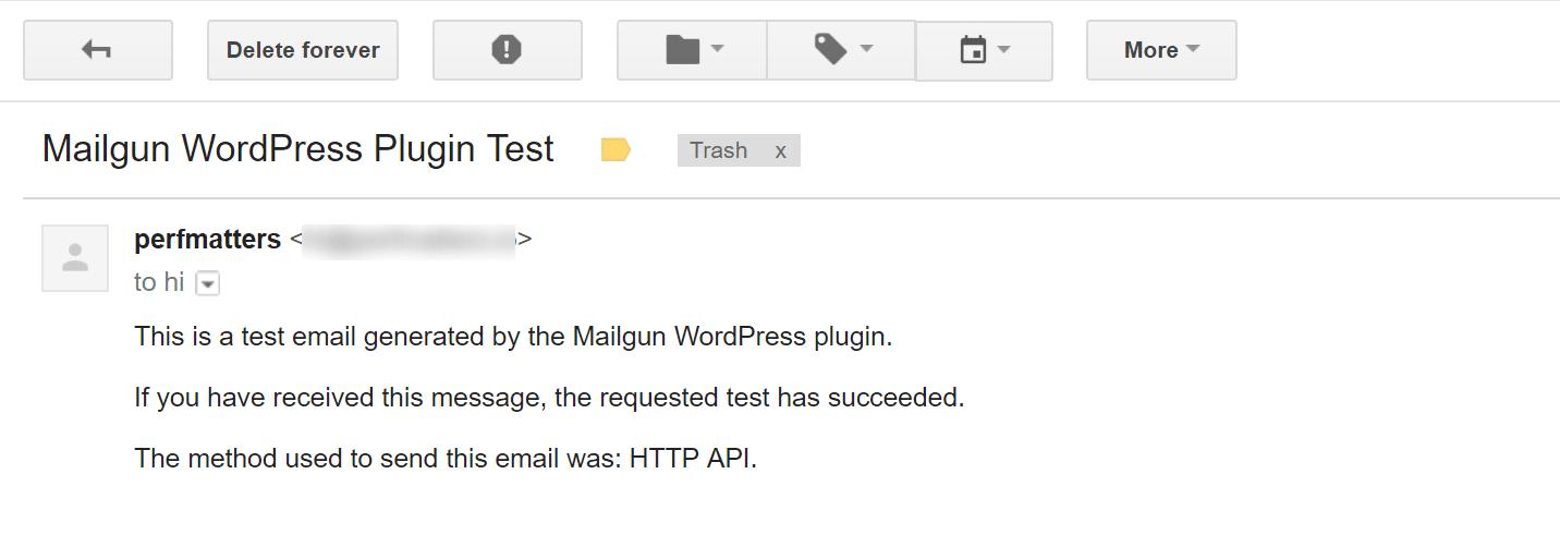 Mailgun-Testkonfiguration