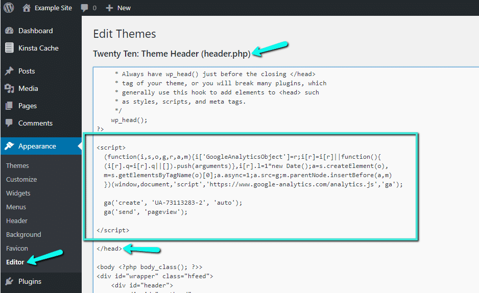 Füge der header.php den Google Analytics-Tracking-Code hinzu