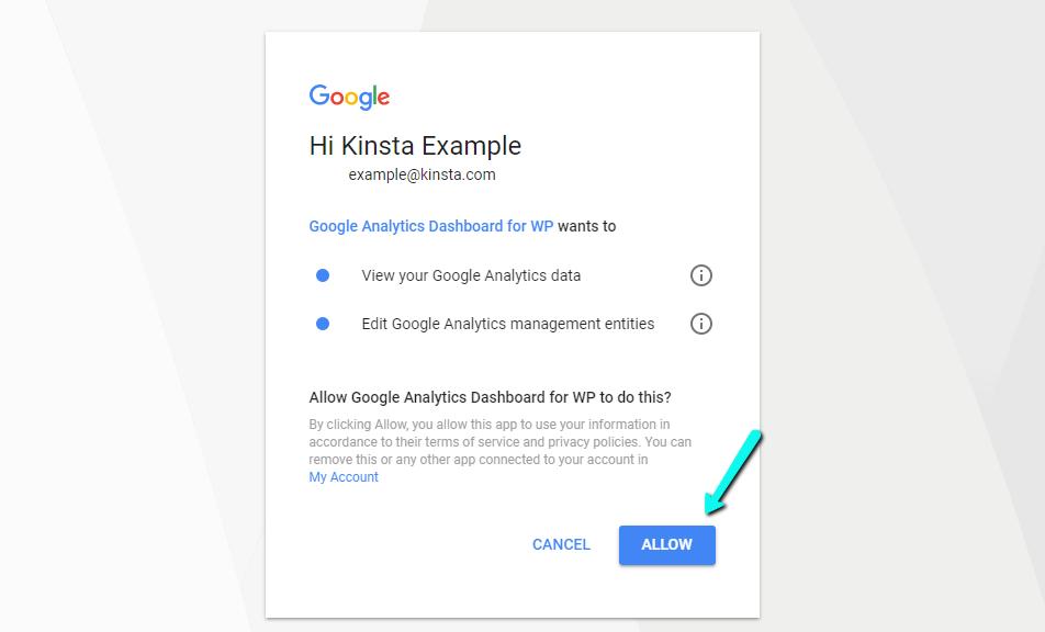 Erlaube den Zugriff auf Google Analytics Dashboard für WP