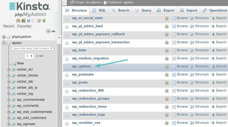 wp_options-Verzeichnis