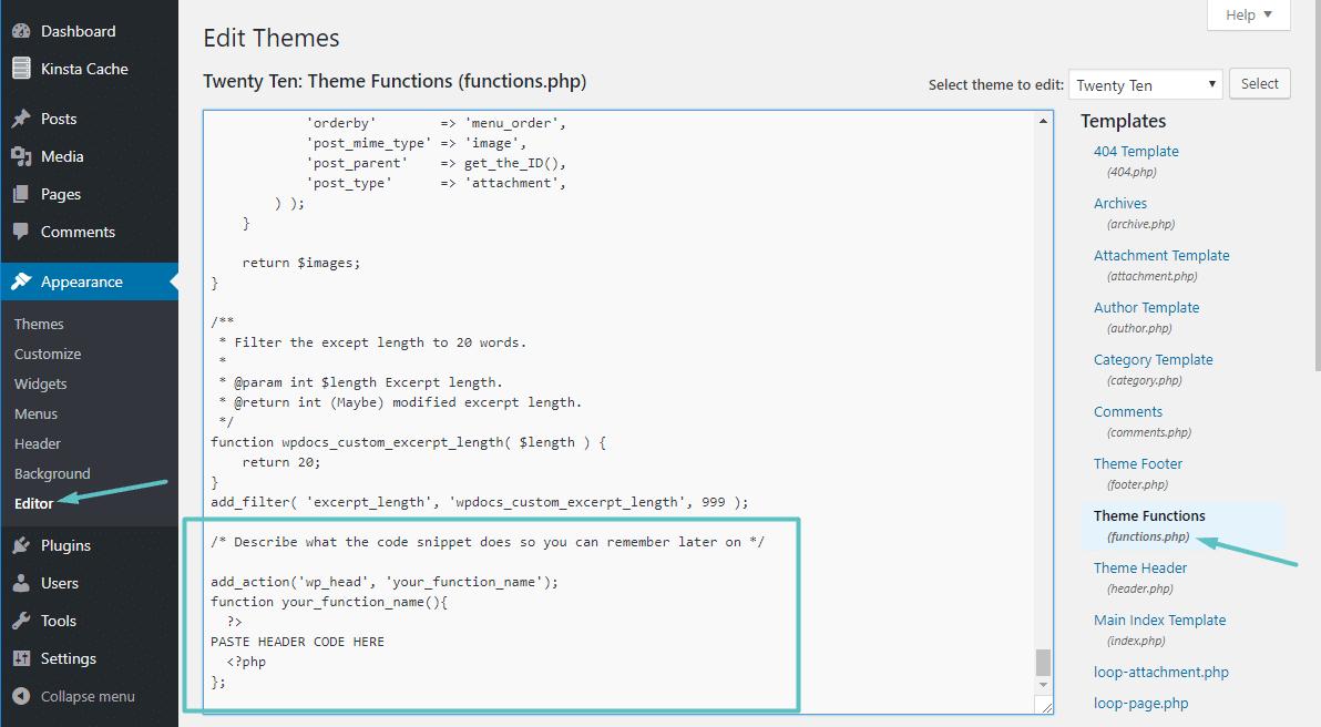 Code zur functions.php Datei hinzufügen
