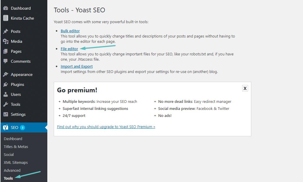 So greifst du auf den Yoast-Datei-Editor zu