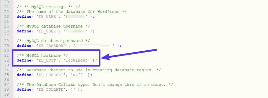 Localhost in deiner wp-config.php Datei