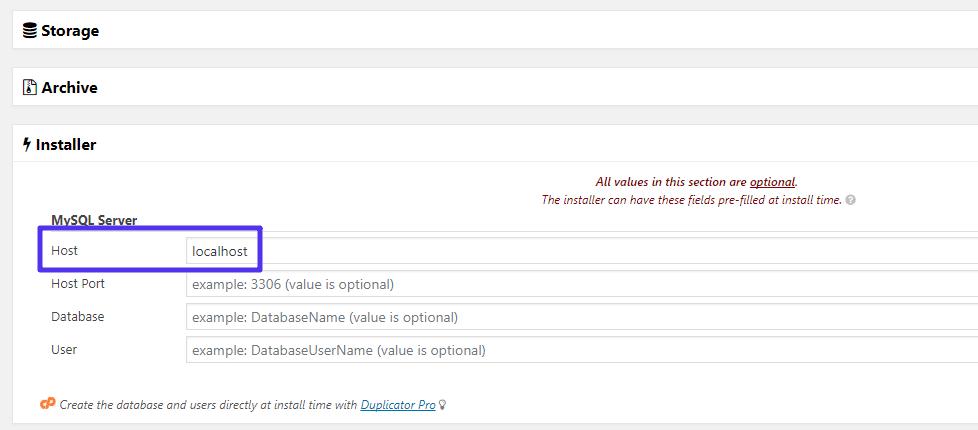 Localhost Verwendung im Duplicator Plugin