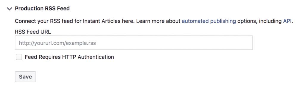 Facebook Instant-Artikel-Produktion für den RSS-Feed