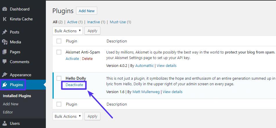 So deaktivierst du ein einzelnes Plugin über das WordPress-Dashboard