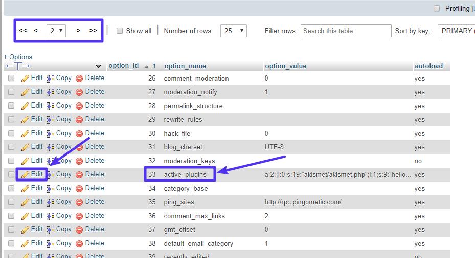 Wo der Eintrag active_plugins zu finden ist