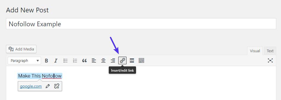 Füge einen normalen WordPress-Link ein